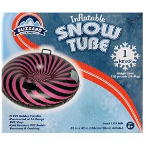 Blizzard King Inflatable Snow Tube Sled Pink Black Stripes 42 Inch