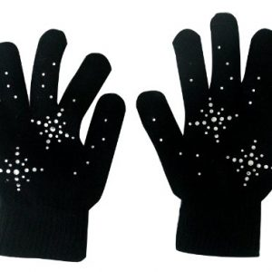 Fedol Girls Ice Skating Gloves Magic Stretch with Rhinestones Snow Flakes
