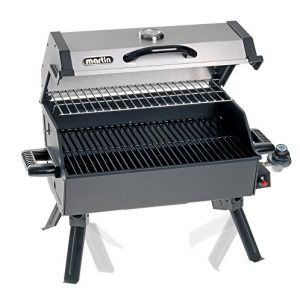 MARTIN Portable Propane Bbq Gas Grill 14,000 Btu Porcelain Grid with Support Legs and Grease Pan