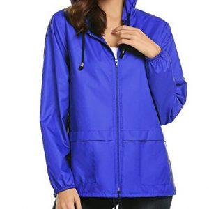 Lightweight Waterproof Raincoat For Women Windbreaker Packable Outdoor Hooded Rain Jacket