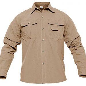 CRYSULLY Men's Convertible Shirts Outdoor Lightweight Quick Drying Hiking Camping Shirts Long/Short Sleeve Shirt