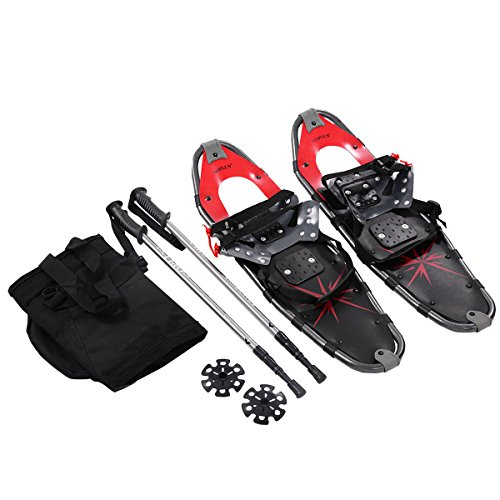 Goplus Snowshoes All Terrain Sports with Anti-Shock Adjustable Poles & Carrying Bag for Adults Snow Shoes 27'' Red
