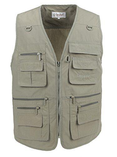 LUSI MADAM Men's Poplin Outdoors Travel Sports Pockets Vest