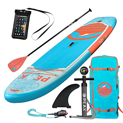 PEAK 10' Yoga Fitness Inflatable Stand Up Paddle Board Package, 6-inch thickness