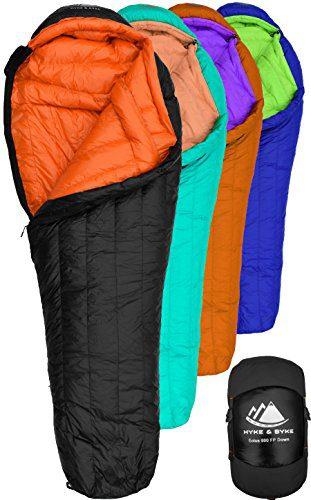 Hyke & Byke Goose Down Sleeping Bag for Backpacking – Eolus 0 Degree F 800 Fill Power Ultralight