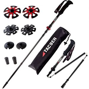 Tac9er Ultra-Light Carbon Fiber Tri-Fold Trekking Poles - Adjustable, Collapsible Walking Sticks for Hiking