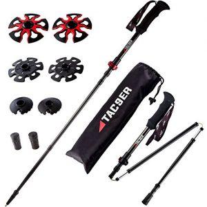 Tac9er Ultra-Light Carbon Fiber Tri-Fold Trekking Poles - Adjustable, Collapsible Walking Sticks for Hiking