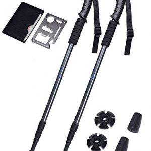 Adjustable Trekking Poles Set of 2 – Collapsible Walking Poles for Walking, Hiking, Camping, Snowshoeing