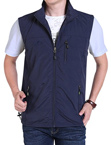 Gihuo Men's Casual Outdoor Stand Collar Lightweight Quick Dry Travel Vest Outerwear