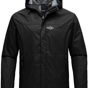 Wantdo Men's Hooded Spring Rain Jacket Waterproof Windproof Insulated Packable Raincoat