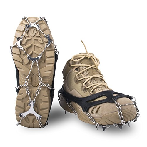 Springk Traction Cleats Snow Grips Ice Creepers,Anti Slip 12 Stainless Steel Microspikes Crampons