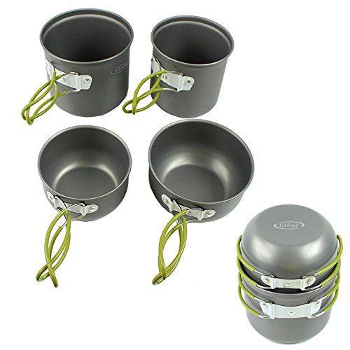 G4Free Outdoor Camping pan Hiking Cookware Backpacking Cooking Picnic Bowl Pot Pan Set 4/13 Piece Camping Cookware Mess Kit Knife Spoon