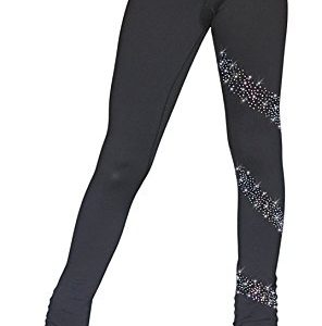 """ChloeNoel PS96 3"""" Supplex Black/Color Waist Band Pants with Crystals Spiral"""
