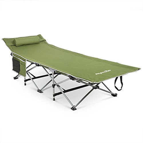 Alpcour Folding Camping Cot with Comfortable Pillow, Side Pocket and Convenience Carry Bag - Army Green