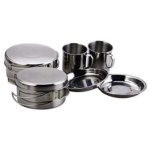 BeGrit Camping Cookware Mess Kit Backpacking Camp Pot Bowls Spork Cup Picnic Cooking Equipment