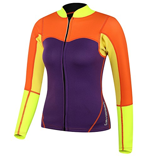 Lemorecn Womens 2mm Neoprene Long Sleeve Jacket Front Zipper Wetsuit Top