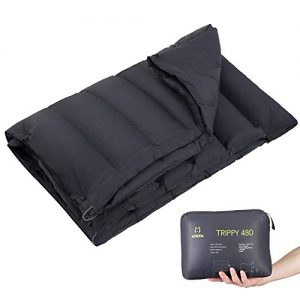 ATEPA Ultralight Compact Packable Warm Down Blanket for Camping Backpacking Hiking Outdoor Sports, Portable, Black
