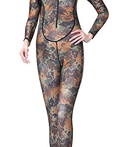 Women Full Body Padded Wetsuits UV Protection One Piece Long Sleeve Dry Fast Hooded Warm Dive Skin Full Suit UPF 50 Sun Protection Camouflage M