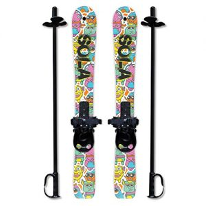 SOLA Winnter Sports Kid's Beginner Snow Skis and Poles With Bindings Age 2- 4