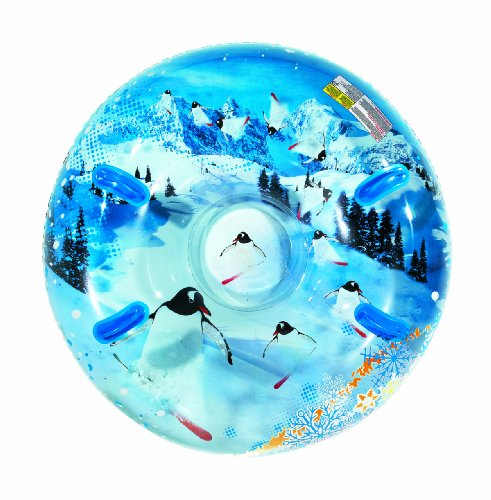 Aqua Leisure Uncle Bob's Winter Inflatable Round Air Penguin Snow Tube Sled for 2 (Two) Riders on Sledding Hill