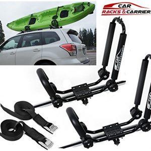Car Rack & Carriers Universal Kayak Carrier Car Roof Rack Set of Two J-Shape Foldable Carrier for Canoe
