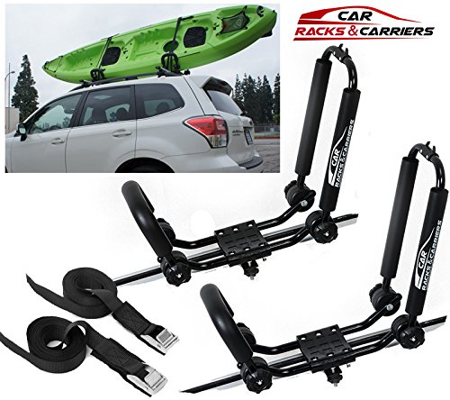 Car Rack & Carriers Universal Kayak Carrier Car Roof Rack Set of Two J-Shape Foldable Carrier for Canoe