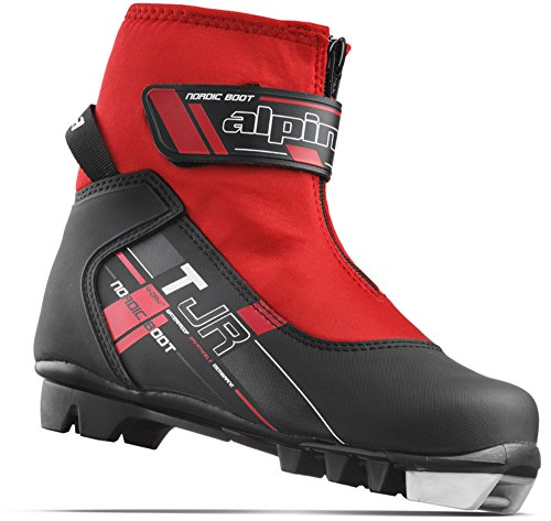 Alpina Sports Youth TJ Touring Ski Boots With Strap & Zippered Lace Cover, Black/Red, Euro 32
