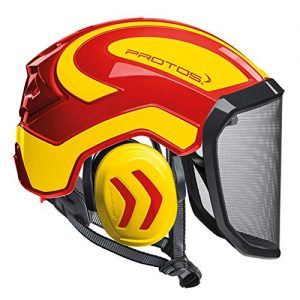 Protos Integral Arborist Helmet - Red & Neon Yellow