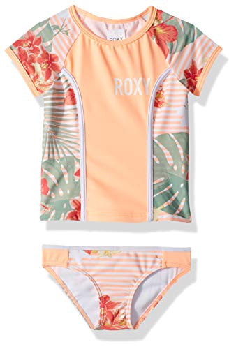 Roxy Girls' Lush Florals Short Sleeve Rashguard Swimsuit Set