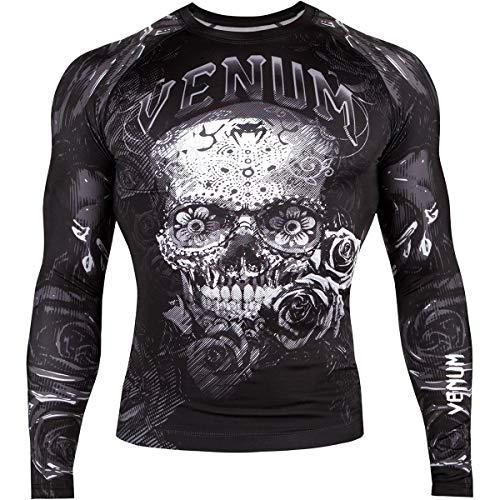 Venum Men's Santa Muerte 3.0 Long Sleeve Rash Guard Black/White