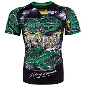Venum Men's Crocodile Short Sleeve Rash Guard MMA BJJ Black/Green