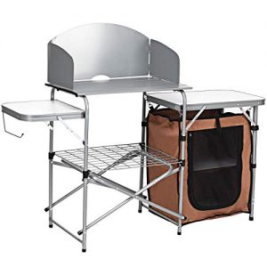 Giantex Folding Grill Table with Storage Lower Shelf