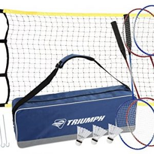 Triumph 4-Player Competition Backyard Badminton Set Includes Net