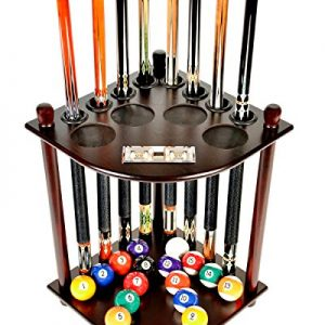 8 Pool Billiard Stick & Ball Floor Stand With Scorer Choose Mahogany