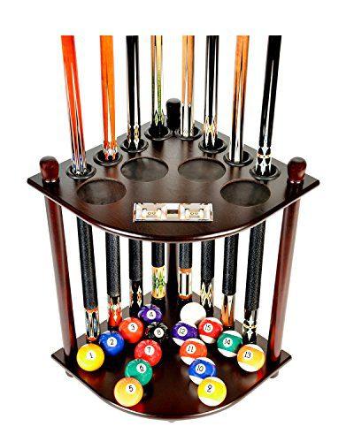 8 Pool Billiard Stick & Ball Floor Stand With Scorer Choose Mahogany
