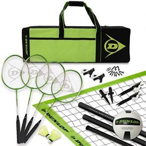 DUNLOP Volleyball Badminton Lawn Game: 11- Piece Outdoor Backyard Party Set