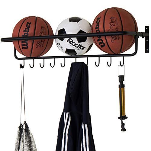MyGift 10-Hook Wall-Mounted Metal Sports Equipment Storage Rack