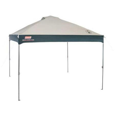 Consolation grips lock shelter into place with pinch-free adjustabilityHeavy-duty 150D UVGuard materials helps block the solar's dangerous raysWheeled carry bag for compact, simple carrying and storage10' x 10' for 100 sq ft of UPF 50 plus solar safety / Straightforward, telescoping polesThis Coleman Gazebo units up in three minutes and three steps / 1-year restricted guarantee