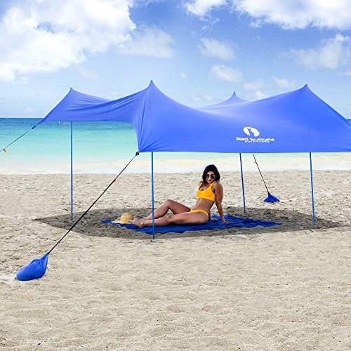 Red Suricata Family Beach Sunshade - Sun Shade Canopy | UPF50 UV Protection | Tent with 4 Aluminum Poles, 4 Pole Anchors, 4 Sandbag Anchors | Large & Portable Shelter Tarp