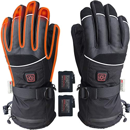 ELEKHEAL Heated Warm Gloves Men Women Thermal Electric Battery Operated Heating Warming Gloves Insulated Hand Warmer Winter Indoor Outdoor Sports Motorcycle Skiing Hunting Cycling