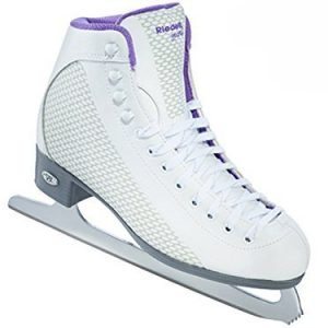 Riedell 113 Sparkle / Womens Beginner/Soft Figure Ice Skates / Color: White and Violet / Size: 4