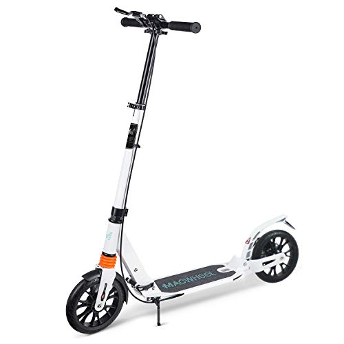 "Macwheel Foldable Aluminum Height Adjustable Kick Scooter, Disc Brake   Rear Fender Brake   Dual Suspension   8"" PU Wheels   Portable Kick Scooter Best for Teens and Adults (MK3)"
