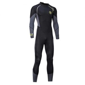 zcco Ultra Stretch 3mm Neoprene Wetsuit, Back Zip Full Body Diving Suit, one Piece for Men-Snorkeling, Scuba Diving Swimming, Surfing