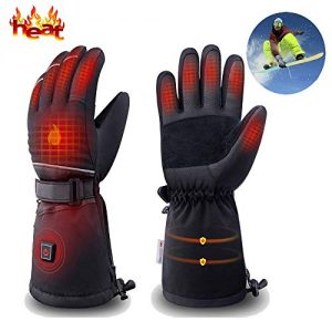 dowerme Rechargable Electric Heated Gloves for Men/Women with Powered Battery/Touchscreen/Waterproof,Hand Warmer Heated Mittens Leather for Arthritis/Winter Outdoor/Skiing/Motorcycle/Hunting