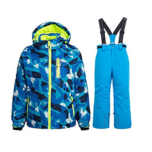 WOWULOVELY Boy's Ski Jacket Pants Windproof Snow Suit Waterproof 2-Piece Snowsuit Girls Unisex