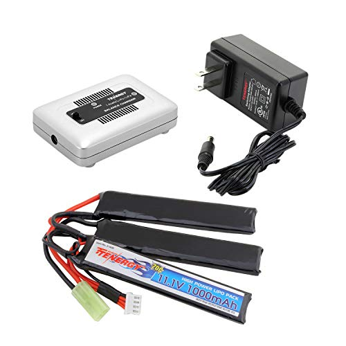 Tenergy Airsoft Battery 11.1V 1000mAh 20C High Discharge Rate LiPo Battery Pack Split Type Crane Stock Battery Pack with Mini Tamiya Connector + 1-4 Cells LiPo/Life Balance Charger for Airsoft Guns