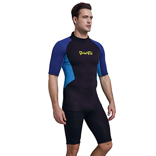 GoldFin Shorty Wetsuit Women Men, 3mm Neoprene Thermal Swimsuit Back Zip for Scuba Diving Surfing Snorkeling Swimming, DW004
