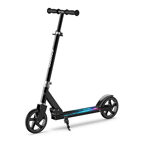 ENKEEO Kick Scooter, Scooters for Adult with 220 lbs Capacity Big Wheels, Height Adjustable Handlebar Portable Oversize Wear Resistant Wheels, Smart Brake System, Fold Commuter Scooter for Kids Black