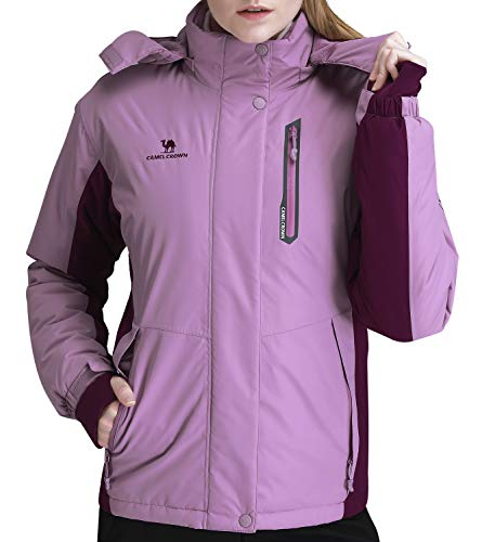CAMEL CROWN Women's Mountain Snow Waterproof Ski Jacket Detachable Hood Windproof Fleece Parka Rain Jackt Winter Coat