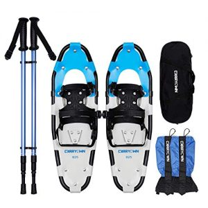 "Carryown 4-in-1 Light Weight Snow Shoes Set for Adults Men Women Youth Kids, Aluminum Alloy Terrain Snowshoes with Trekking Poles and Waterproof Leg Gaiters + Carrying Tote Bag, 14"" /21""/ 25""/ 30"""